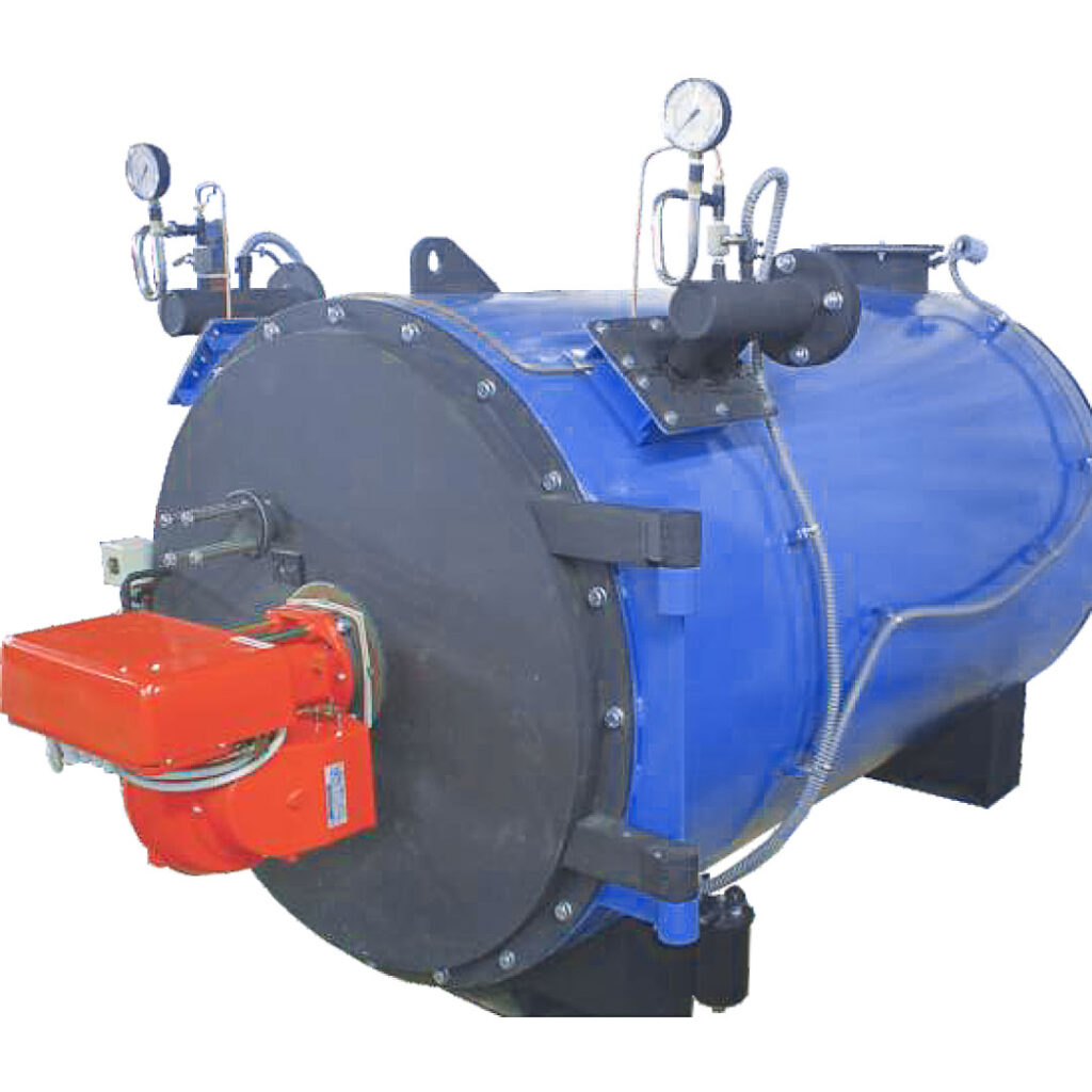 two pass reverse flue shell type hot water boiler